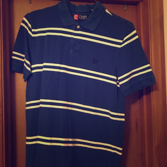c92af342057 Chaps Shirts | Blue And White Striped Mens Polo | Poshmark